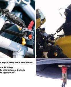 Various ways of using a helmet lock