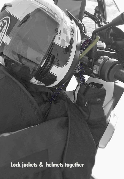 Jacket secured with helmet lock