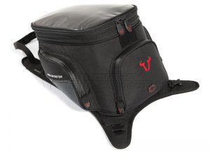 Strapped motorcycle tank bag