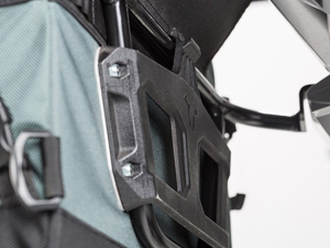 Motorcycle soft side panniers clips on framing