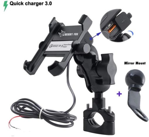 phone cradle for mirror mounting on a motorcycle