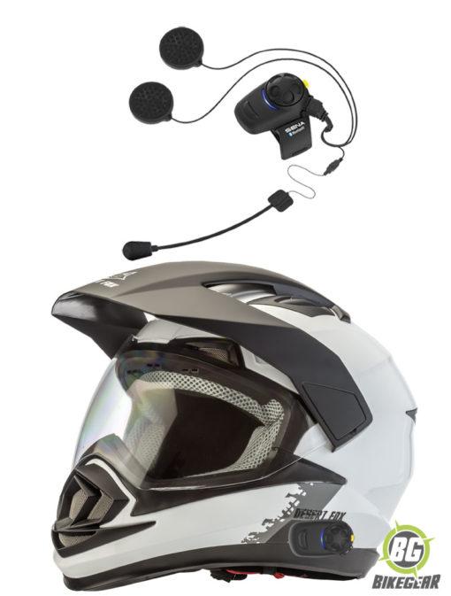 Desert-Fox-Enduro-3-in-1-Helmet-Plain-White-fitted-with-Sena-SMH5-motorcycle-intercom