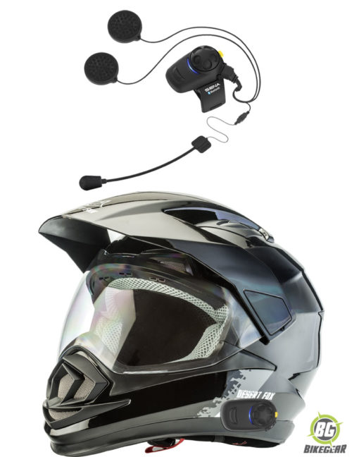 Sena-SMH5-fitted-to-Desert-Fox-Plain-black-enduro-helmet